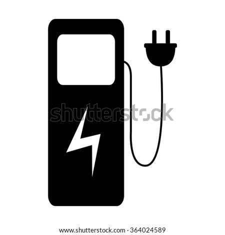 Electric car charging station icon isolated on white background. Illustration - stock photo
