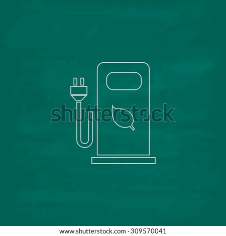 Electric car charging station or Bio fuel petrol. Outline icon. Imitation draw with white chalk on green chalkboard. Flat Pictogram and School board background. Illustration symbol - stock photo