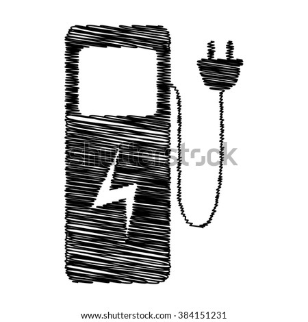 Electric car charging station sign. Flat style icon with scribble effect - stock photo