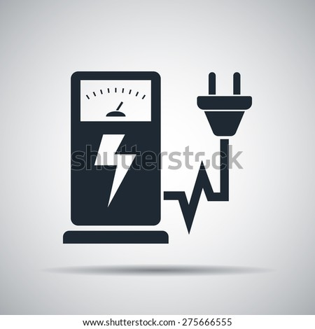 Electric car charging station sign icon - stock photo