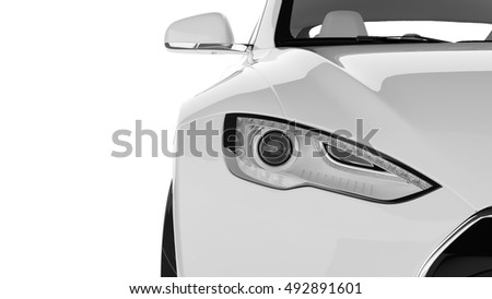 Electric Car Close-up 3D Rendering Isolated on White