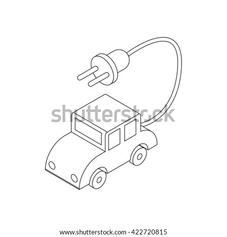 Electric car icon, isometric 3d style - stock photo