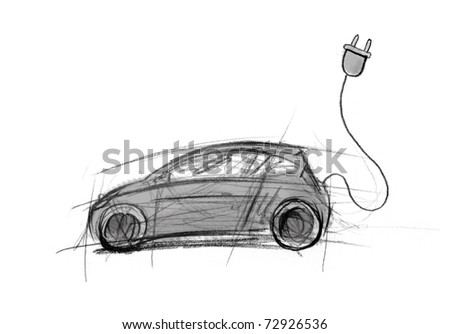 electric car, illustration - stock photo