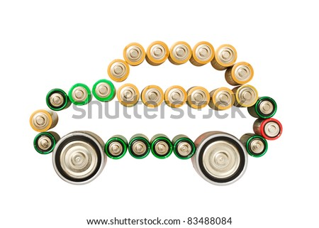 Electric car made from batteries isolated on the white background - stock photo