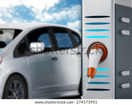Electric car plugged in a charging station - stock photo