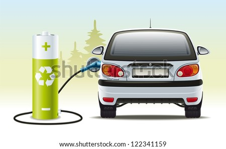 Electric car recharges. Illustration of a renewable source of energy to propel the vehicle. - stock photo