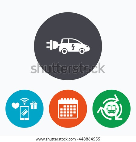 Electric car sign icon. Hatchback symbol. Electric vehicle transport. Mobile payments, calendar and wifi icons. Bus shuttle. - stock photo