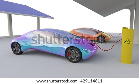 Green Electric Car Electric Vehicle Charging Stock Illustration