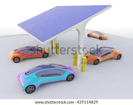 Electric Cars Charging At The Solar Power Station, Eco car, Electric  transport, Electric car Isometric, Electric car 3d render, Electric car transport, Electric car concept, Future  concept car.  - stock photo
