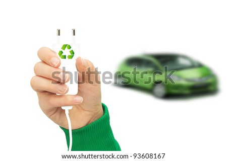 Electric cars with eco energy - stock photo