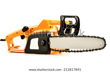 Electric chainsaw isolated on white background