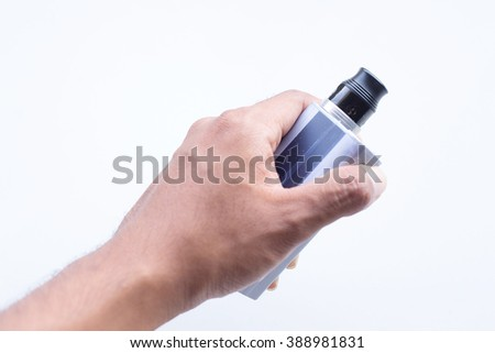 Electric cigarette on hand, white background isolate