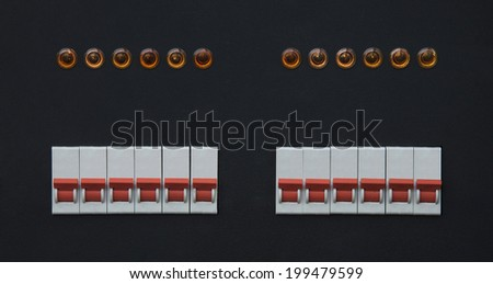 Electric circuit breakers  - stock photo