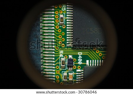 Electric circuit green pcb through hole - stock photo