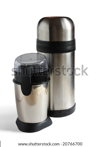 electric coffee grinder with insulated carafe. Isolated on white