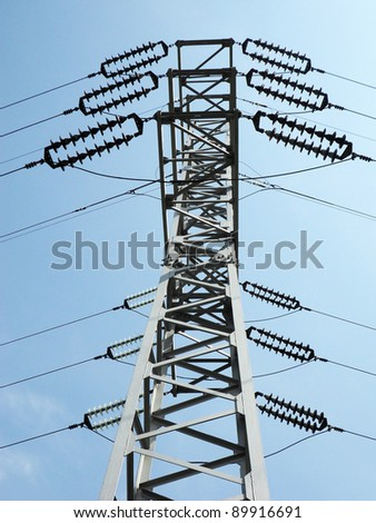 electric column  on sky blue background