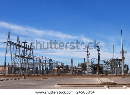electric company substation - stock photo