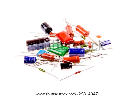 electric components on a white background , isolated - stock photo