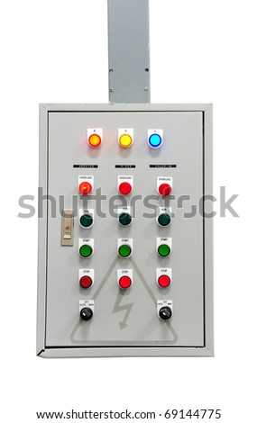 Electric control isolated on white - stock photo