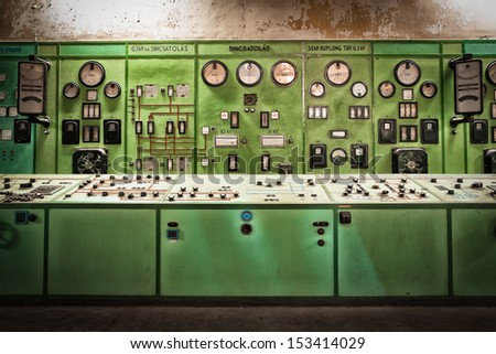 electric controller room in an old metallurgical factory - stock photo