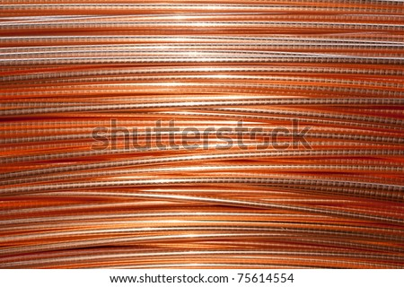 Electric copper wire roll - stock photo