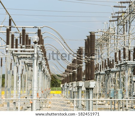 Electric distribution substation - stock photo