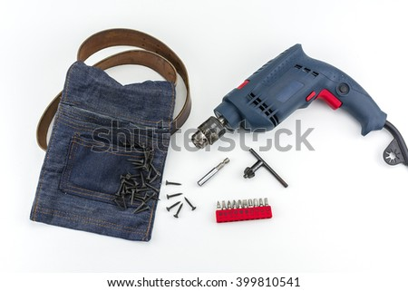 Electric drill, drill chuck, screw and bags on white background./ Electric drill, drill chuck, screw and bags - stock photo