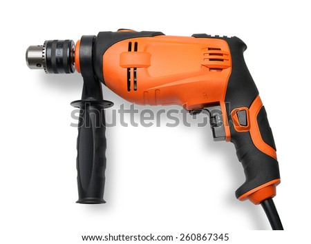 Electric drill isolated - stock photo
