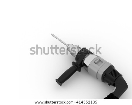 Electric drill on white background. 3D illustration