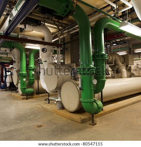 Electric driven chiller used for building cooling - stock photo