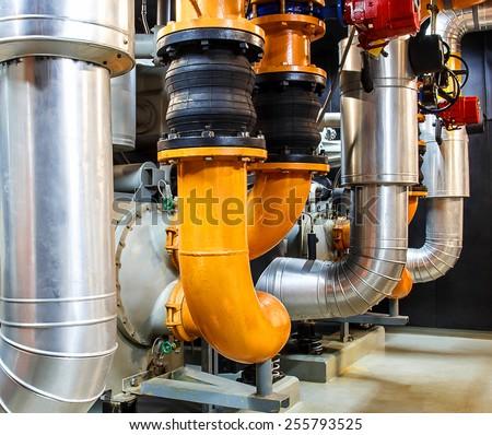 Electric driven, moterize valve, Pump Room - stock photo