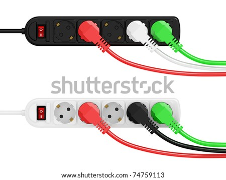 electric extension and electric plug isolated on a white background - stock photo
