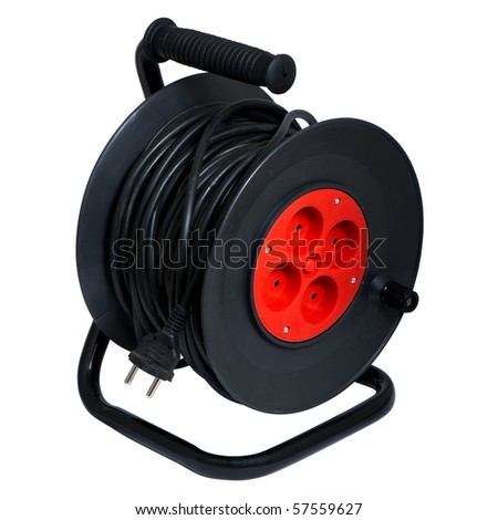 Electric extension prong and reel isolated over white background - stock photo