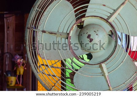 electric fan decorate in vintage coffee shop - stock photo