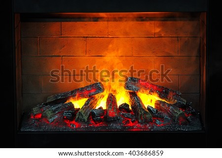 Electric fireplace - stock photo