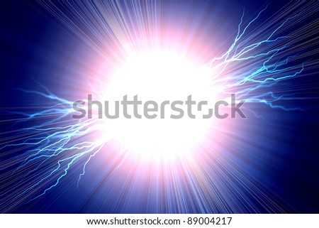 Electric  flash of lightning on a blue background - stock photo