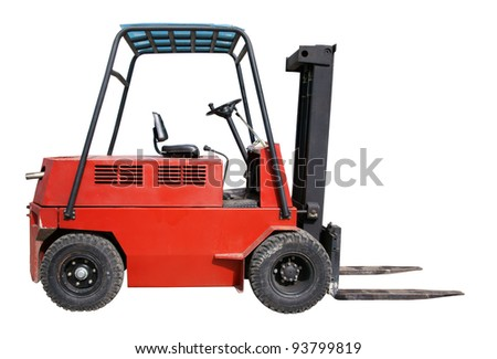 Electric forklift isolated over white - stock photo