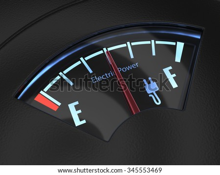 Electric fuel gauge with the needle indicating a middle battery charge. Eco fuel concept