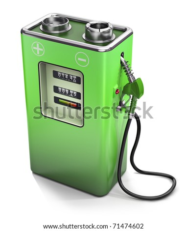 Electric fuel pump, electric energy concept - stock photo