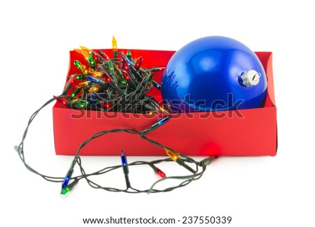 Electric Garland and ball in box isolated on white background - stock photo