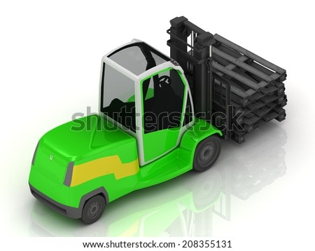 Electric green Forklift isolated on a white background. Top view - stock photo