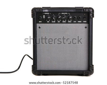 Electric guitar amplifier, white background - stock photo