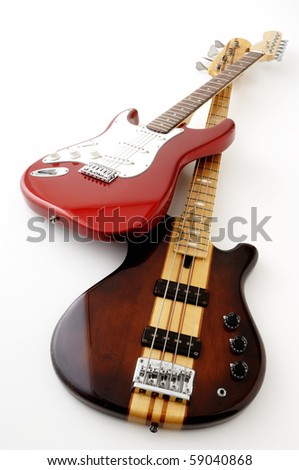 Electric guitar and Bass guitar - stock photo