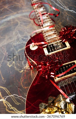 Electric guitar as a Christmass or birthday present - stock photo