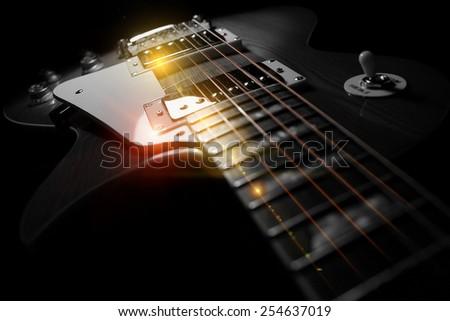 Electric Guitar Closeup - stock photo