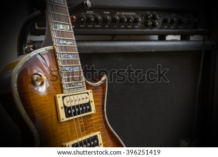 Electric guitar detail - stock photo