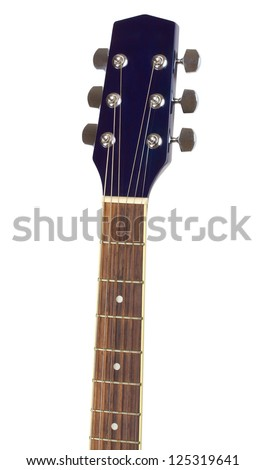 electric guitar fretboard isolated on white background