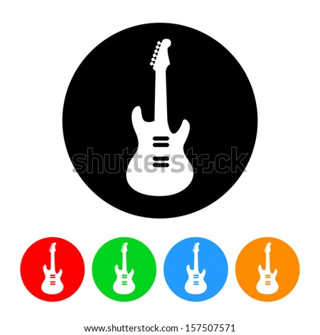 Electric Guitar Icon with Color Variations.  Raster version. - stock photo