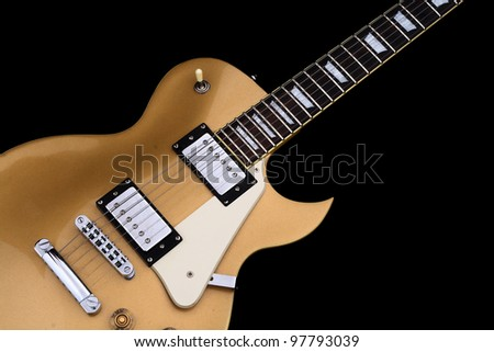 Electric guitar in black - stock photo