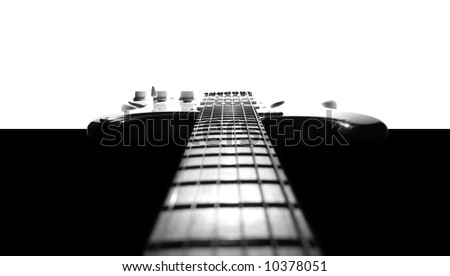 Electric guitar in black & white - stock photo